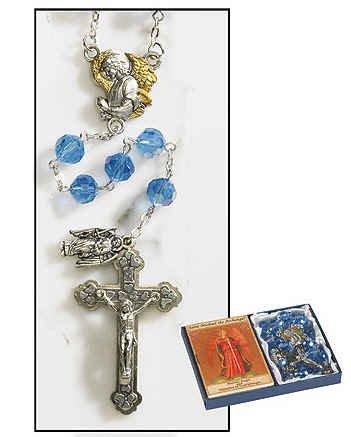 "Saint Michael Archangel Rosary Gift Set Rosary: 8mm Crystal Bead, Folder: Cardstock Rosary 23.5"" L, Folder: 2.25"" W X 3.5"" H"