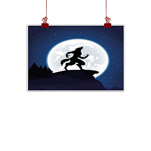 warmfamily Canvas Prints Wall Art Wolf,Full Moon Night Sky Growling Werewolf Mythical Creature in Woods Halloween,Dark Blue Black White 24