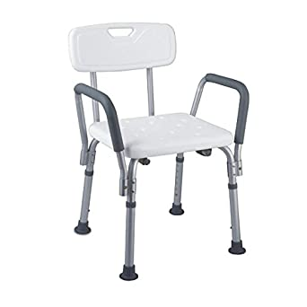 KosmoCare Light Weight Aluminum Shower Bench with Back & Detachable Handrest - White
