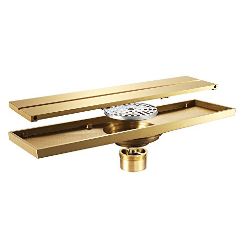 Liinmall Modern Golden Floor Drain Extreme Deodorant Brass with Romovable Cover ()