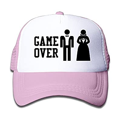 GAME OVER Funny Bachelor Party, Wedding Groomsman Humor Unisex Mesh Hat Trucker Style Outdoor Sports Baseball Cap With Adjustable Snapback Strap For Kid's Pink