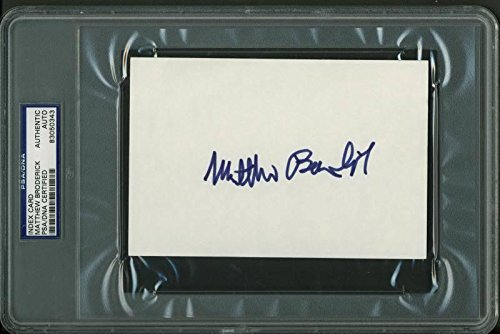 (Matthew Broderick Signed 4X6 Index Card Autographed Slabbed - PSA/DNA Certified)