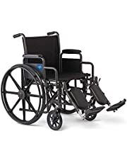 """Medline Comfort Driven Wheelchair with Removable Desk Arms and Elevating Leg Rests, 18"""" Seat (K1186N22E)"""