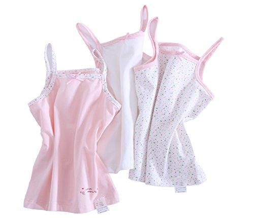 Kimocat Spaghetti Strap Camisole Tank Tops for Toddler Girls Cotton Layering Basics,3 Pack(4T) (Strap Shirt Spaghetti Girls)
