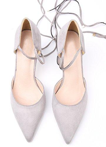tacón Mujer Vestir De de Sandalias BIGTREE Pointed Stiletto Cordones Toe Zapatos Gris Gladiador Zapatos Sandalias qwrEXFw