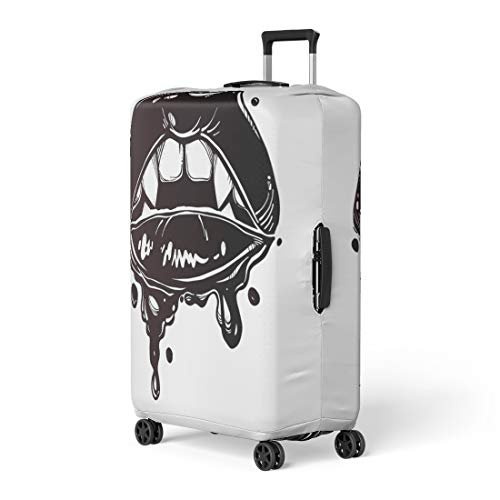 Pinbeam Luggage Cover Sexy Female Vampire Lips Fangs and Dripping Blood Travel Suitcase Cover Protector Baggage Case Fits 26-28 -