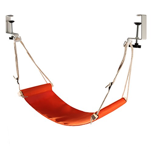 HURRISE Portable Office Foot Rest With Adjustable Durable Strap Foot Hammock Fixed Firmly Desk Foot Rest for Airplane Traveling(Orange)