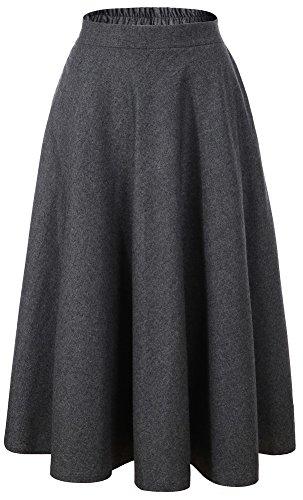 Vocni Women Flared Plaid A-Line Winter Wool Blend Midi Long Skirt,Dark Grey,Medium/Tag XL