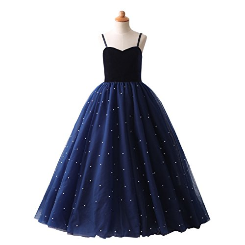 Ikerenwedding Flower Girls Spaghetti Pearls Pleated Tulle Princess Ball Gown Blue Size 6