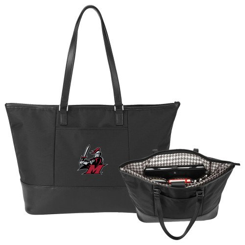 Manhattanville Stella Black Computer Tote 'M with Knight' by CollegeFanGear