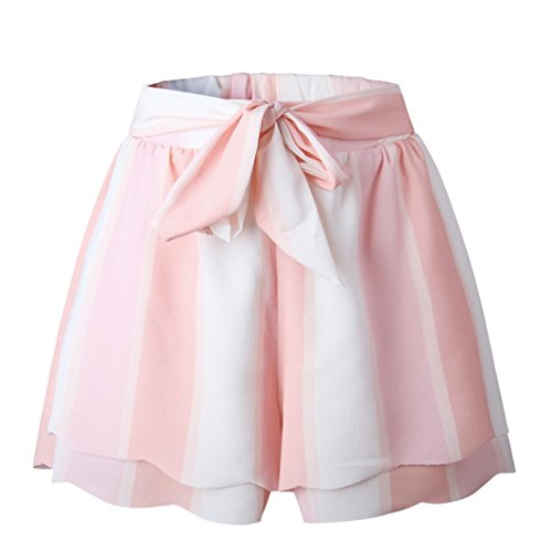 Pervobs Women Shorts Big Promotion! Women Pink Shorts Casual Loose Printing Striped Petal Double Layer Drawstring Shorts Pants (L, ()