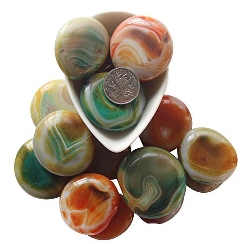 (ACEVER Carnelian Banded Agate Gemstone Rock Moonstones Tumbled Polished Pebble Stones (Size-Color-14))
