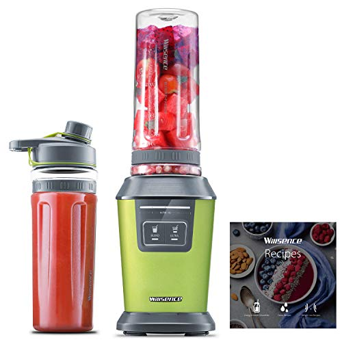 Willsence Blender Personal Smoothie Blender 700 Watts Intelligent Nutri-iQ System, 6 Stainless Steel Blades for Shake and Smoothie Juicer Maker, Ice Crusher, 2 x 20 oz Travel Sport Cups