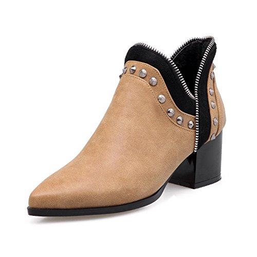 VogueZone009 Damen Ziehen auf Mittler Absatz Eingelegt Knöchel Hohe Stiefel mit Rivet Set, Gelb, 41