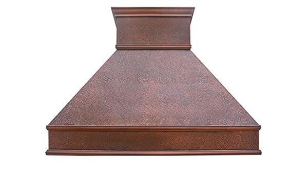 SINDA - Campana clásica de cobre macizo con soporte de pared martillado con soplador centrífugo de alto flujo de aire, ventilación de acero inoxidable con forro y motor interno, filtro deflector, 76,2