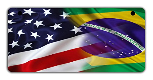 (BleuReign(TM Mixed USA and Brazil Flag Motorcycle Moped Golf Cart 4