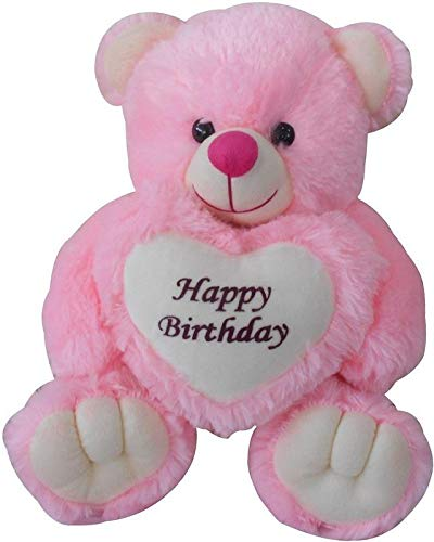 Sellebrations Sitting Teddy Bear with Happy Birthday Message on a Big Heart (35 cm) Pink