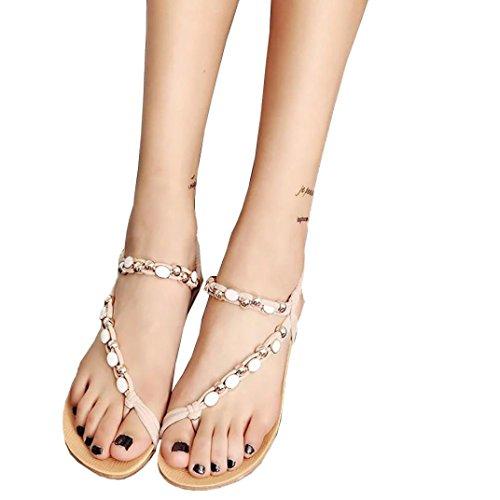 Toe Bohemia Gillberry Peep Shoes Women Leisure Beaded Beige Flip Flat Sandals Shoes TTRAF4