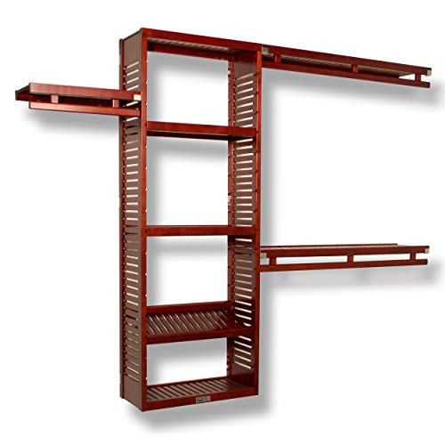 John Louis Home JLH-530 12in. Deep Simplicity Closet Organizer, Red Mahogany Finish, 12 inch, ()