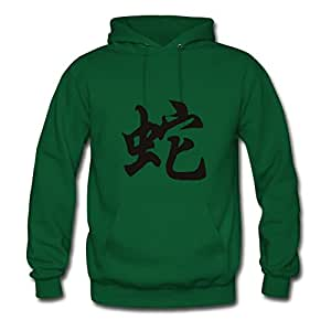 Chinese Zodiac Symbol Snake Style Personality X-large Hoodies Women Cotton For Green