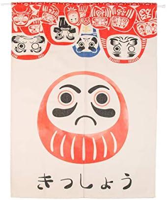 BAIHT HOME Cotton Linen Japanese Noren Doorway Curtain Tapestry Hokusai Ukiyoe Home Decor Room Divider 33.5 Width x 47.2 Long Doll Daruma