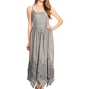 Sakkas 852bv Stonewashed Rayon Embroidered Adjustable Spaghetti Straps Long Dress - Grey - OS