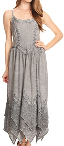 (Sakkas 852bv Stonewashed Rayon Embroidered Adjustable Spaghetti Straps Long Dress - Grey -)