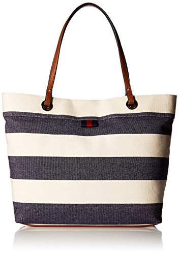 Tommy Hilfiger Canvas Tote Bag for Women Grommet, Navy/Natural