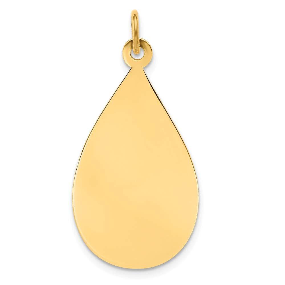 14K Yellow Gold Plain .009 Gauge Engravable Raindrop Disc Charm