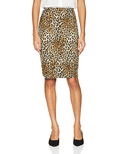 Star Vixen Women's Below-Knee Pencil Skirt with Back Slit, Leopard Print, L (Print Skirt Pencil Leopard)