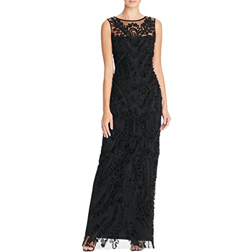 - JS Boutique Womens Lace Overlay Full-Length Evening Dress Black 6
