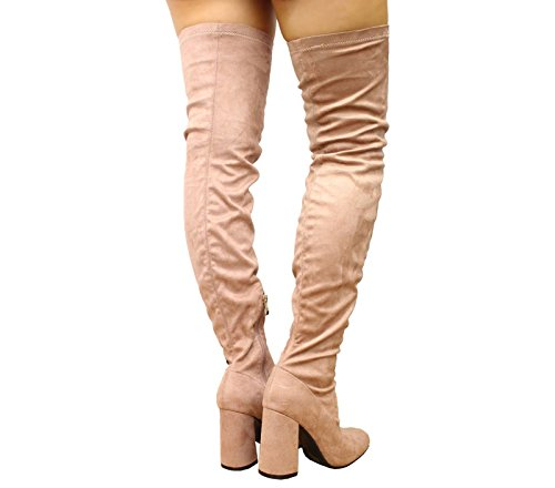 The Boots SAUTE 8 Party Stretch Pink Womens Over Heel High STYLES Knee Block Size Thigh 3 qBBPt