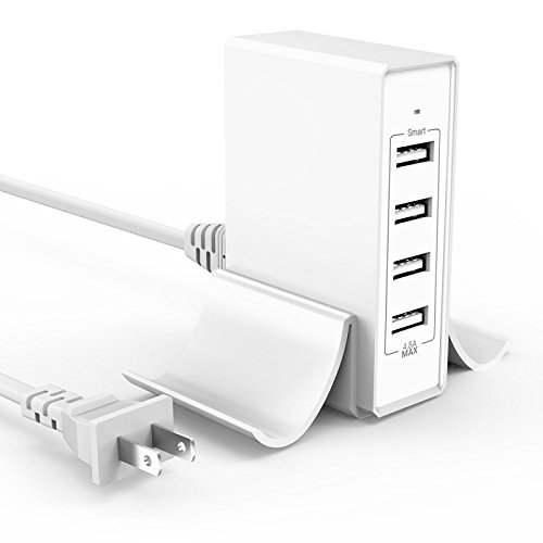 Multi Port Usb Charger with Phone Stand, 24W 4.8A 4-Port Usb Hub Rapid Desktop Charging Station Usb Adapter for Apple iOS,Samsung Android & All Other USB Enabled Devices-White (Battery Pack Usb Hub)