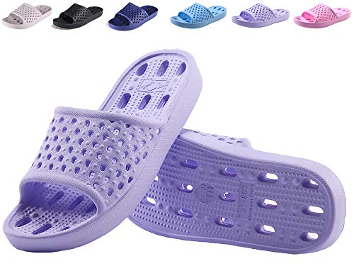 Shower Soft Quick Sandals Slippers Bath Slip Slipper Bathroom with and Drying Holes Gym Lightweight for Women Men Non Purple Shoes POvwEqz5
