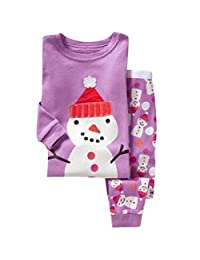Little Girls Kids Toddler Santa Claus Christmas Pjs Sleepwear Cotton Pajamas Sets