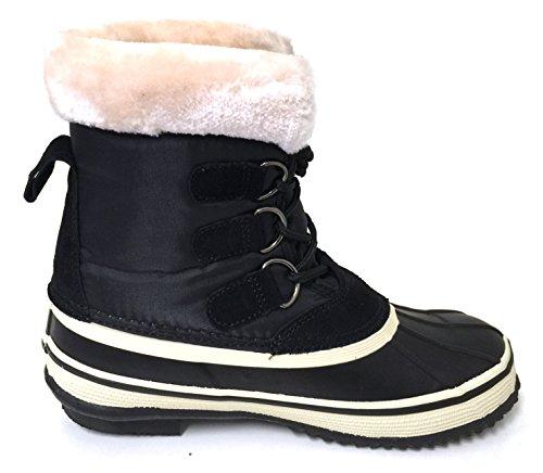 G4u-a G4-a22s Dames Winterlaarzen Koud Weer Geïsoleerde Vetersluiting Waterdicht Bont Warme Eend Sneeuwschoenen, Zwart Zwart