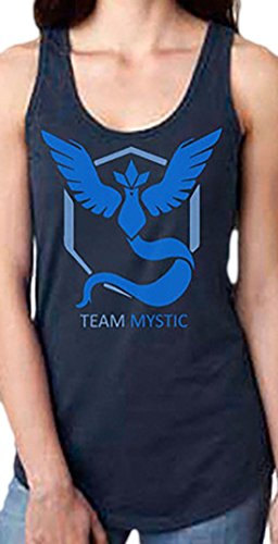 erdbeerloft - Damen Fashion Casual Tank Top Pokemon Team Instinct/Mystic/Valor, S, Blau