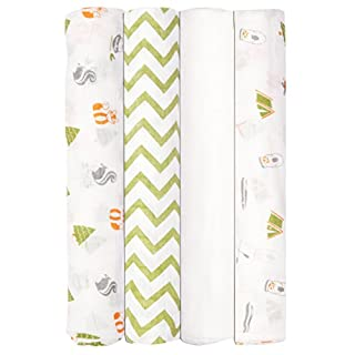 Babykin Organic Cotton Muslin Swaddle Blankets, Camp Adventure, 4 Piece Pack