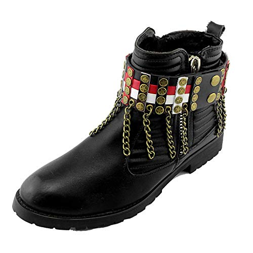 - Men Biker Punk Boots Bracelets Tassels Chain Vintage Pair Leather Strap