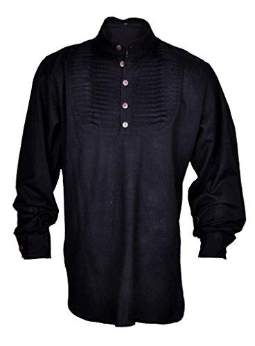 Renaissance Casual Summer Pirate Hippie Shirt Medieval Men Costume Black Color Large (Mens Pirate Clothing)