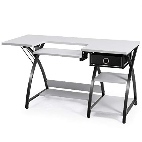 White Sewing Craft Table 3 Shelves and Drawer for Storing Sewing Tools Large Worktop Sewing Station Adjustable Drop Down Platform Multifunctional Can Be Used As Computer Desk Laptop Notebook Table
