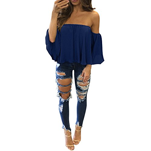 (Aniywn Women Sexy Off Shoulder Half Sleeve Solid Chiffon Pullover Tops Casual T-Shirt)