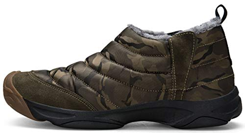 Mens Camouflage Slip-on Ankle Boots Fully Fur Lined Snow Boots Winter Warm Cotton Shoes by Weweya (Image #2)