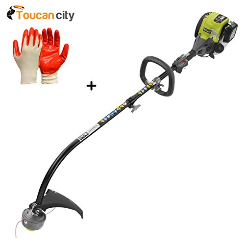 Ryobi 4-Cycle 30cc Attachment Capable Curved Shaft Gas Trimmer RY4CCS and Toucan City Nitrile Dip Gloves(5-Pack)