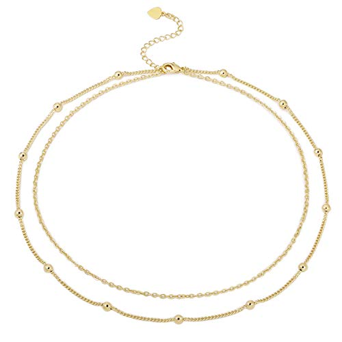 POTESSA 18k Gold Satellite Beaded Chain Choker Simple Layering Necklace Dainty Jewelry for Women Girls