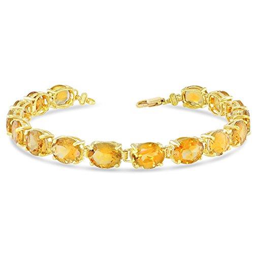 Fine 14k Yellow Gold Genuine Oval Citrine (9x7) Tennis Bracelet (Size 7)
