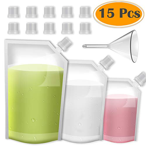 selizo 15 Pcs Plastic Drinks Flasks Concealable Reusable Liquor Drinking Pouch with Plastic Funnel for Party Christmas Beverage (235ml, 423ml and 1000 ml)