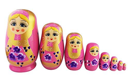 Winterworm 8pcs Cutie Lovely Pink Girl Nesting Dolls Matryoshka Madness Russian Doll Popular Handmade Kids Girl Gifts Toy