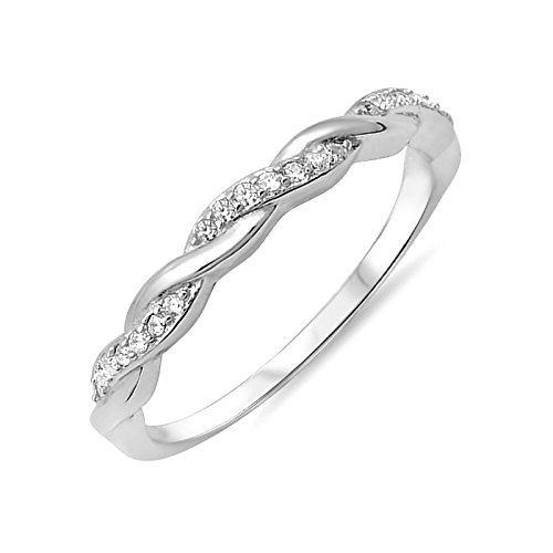 3 Stone Twist (3mm Twist Half Eternity Simulated Birthstone Cubic Zirconia Sterling Silver Ring Size 8)