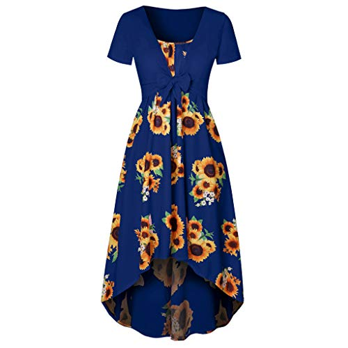 Dresses for Women Casual Summer Short Sleeve Bow Knot Cover Up Tops Sunflower Print Strap Midi Dress Dark - Tie Bow Bodystocking